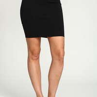BLACK SPORTY BAND MIDI SKIRT