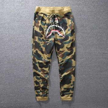 Men's Camo Shark Skateboards Sport Pants Teenager Hip Hop Kanye West Yeezus High Quality Fashion Sweatpants Casual Pants