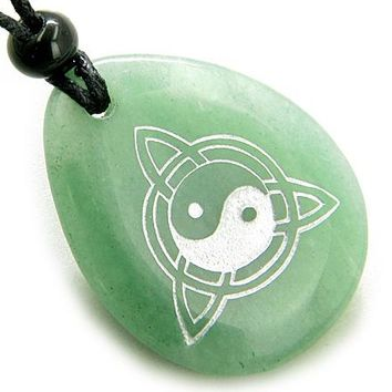 Magic Ying Yang and Celtic Triquetra Knot Amulet Aventurine Lucky Wish Stone Pendant Necklace