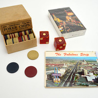 Vintage Curated Gift Box, Greetings from Las Vegas, Retro Souvenirs of the Vegas Strip, Packed in a Vintage Cigar Box, 1950s-1980s