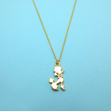 Tiny Poodle, Puppy, Gold plated, Necklace
