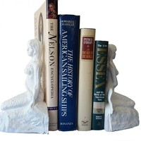 Whitewashed Cast Iron Mermaid Bookends 8""