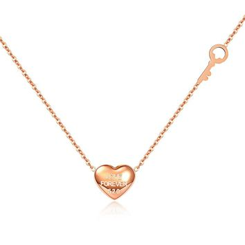 New Stainless Steel Chain Necklace Love Forever 520 Heart Pendant Charms Key Rose Gold Necklace Chain Lobster Neck Chokers Mujer