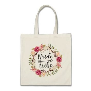 Watercolor Boho Floral Wreath Bride Tribe Tote Bag