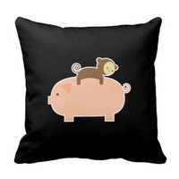 Baby Monkey Riding on a Pig Throw Pillows