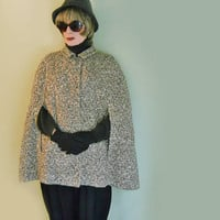 "Vintage Cape - 1960s Mod Wool Tweed British ""Bobby-Style"" Outerwear"