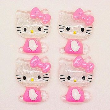 41014b287 10pcs 22*27mm cute bling pink resin hello kitty flatback cabocho