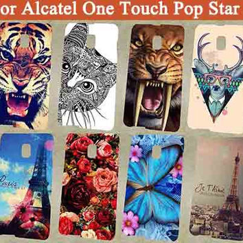 For Alcatel One Touch Pop Star 3G 5022X 5022D 5022 Phone Case back cover pattern painting tiger owl eiffel towers hard pc sheer