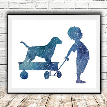 Nursery wall decor, Boy with dog, Yellow lab print, Boy print, Watercolor art, Blue kids room decor, Dog lovers gift, Instant Download