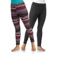 Concepts Women's Cozy Fleeced Lined Legging 2-Pack - Walmart.com