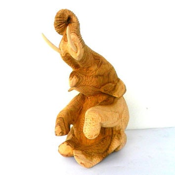 "Hand Carved Elephant Wood Carving Sitting Elephant Natural Teak Wood Color Elephant Handmade Wooden Elephant Art Home Decor / Gift 7""x3.5"""