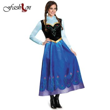 Women Cosplay Costumes Anime Party Dresses Princess Anna  Adult Dress Trailing Vestidos Formal Dress Stage Role Play Canonicals