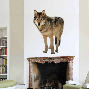 wolf wall Decals wolf wall decor wolf Full Color wall Decals Animals wall Decals Home Decor for kids room cik2207