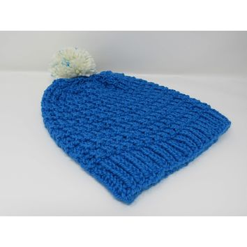 Handcrafted Knitted Hat Beanie Blue Alpaca/Merino Pom Pom Female Adult -- New No Tags