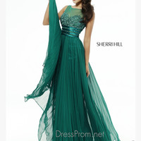 Sleeveless Illusion Neckline Formal Prom Gown By Sherri Hill 4809