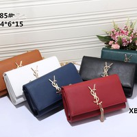 """Yves Saint Laurent YSL"" Women Envelope Bag Simple Fashion  Metal Chain Single Shoulder Messenger Bag Small Square Bag"