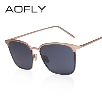 AOFLY Fashion Women's Sunglasses Double color Frame Reflective Coating Mirror Flat Panel Lens Brand Designer Sun Glasses Oculos