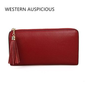 WESTERN AUSPICIOUS Wallets Female Quality Cow Leather Lady Purse EU/US Style Carteira Feminina 2017 Womens Wallets And Purses