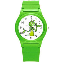 Adorable Grasshopper (close up) on Green Plastic Sports Watch...