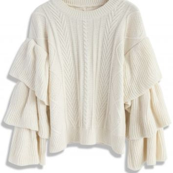 Ivory Cable Knit Sweater with Tiered Flare Sleeves - Retro, Indie and Unique Fashion