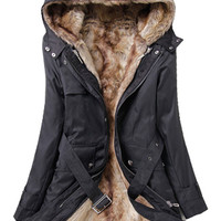 Long Sleeves Thermal Faux Fur Parka Coat