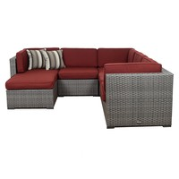 Bellagio 6 Piece Wicker Patio Sectional Set, Burgandy Cushions