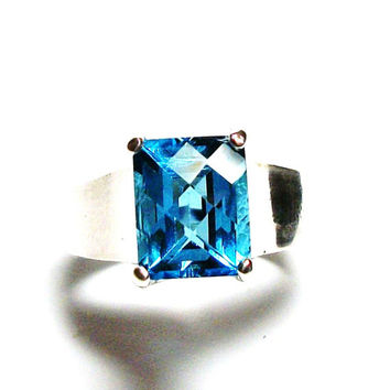"Swiss blue topaz, birthstone ring,solitaire ring, swiss blue, engagement ring, s 6 3/4     ""Windjammer"""
