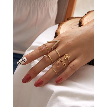 6pcs Rhinestone Engraved Hollow Out Ring