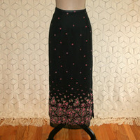 90s Black Floral Maxi Skirt Long Chiffon Skirt Romantic Grunge XL Size 16 Skirt Pink Flowers Kathie Lee Plus Size Clothing Womens Clothing