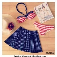 Red & White Striped and Navy Blue Polka Dot 3 Piece Swimsuit Set Top, Bikini Bottom and Skirt (XS/S/M) 406 - Smoky Mountain Boutique