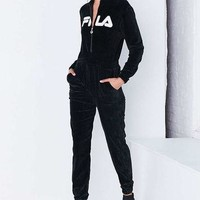 FILA + UO Koby Zip-Front Velour Coverall Jumpsuit - Urban Outfitters