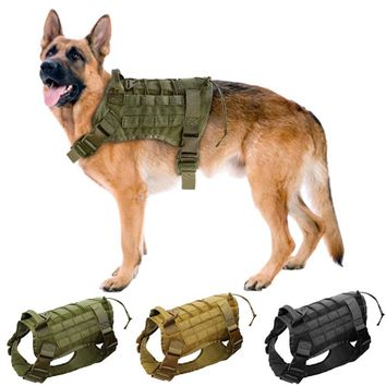 High Quality Tactical Dog Vest Harnesses Water Resistant Nylon 1000D Military Harness For Medium Large Dogs Size M L XL