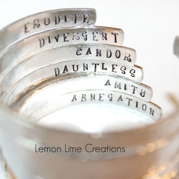 Divergent Inspired Faction Cuff, Aluminum Cuff Bracelet, Hammered Cuff Bracelet, Erudite, Divergent, Candor, Dauntless, Amity, Abnegation