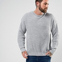 River Island Oversized Fisherman Sweater In Gray at asos.com