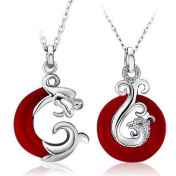 Gullei Trustmart : Dragon and Phoenix sterling silver love couple necklace set [GTMCN008] - $68.00 - Couple Gifts, Cool USB Drives, Stylish iPad/iPod/iPhone Cases & Home Decor Ideas