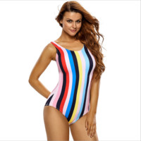 Sexy stripe rainbow one piece swimwear