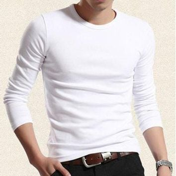 PEAP78W 2017 autumn models teen solid color o-neck mens T-shirt bottoming elastic shirt for male long-sleeve T-shirt men