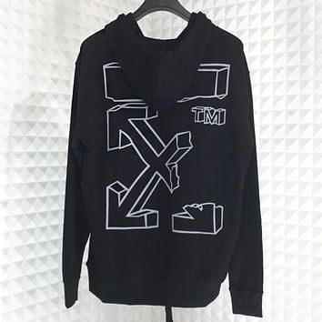 Off White New fashion letter arrow print couple hooded long sleeve sweater Black