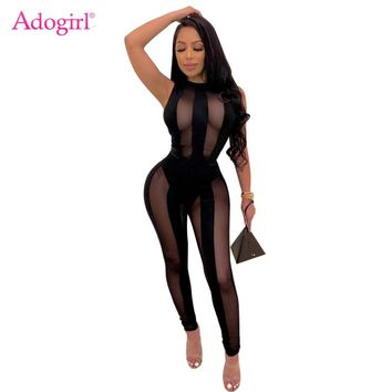Adogirl Women Sexy Sheer Mesh Night Club Jumpsuit O Neck Sleeveless Slim Romper Fashion Party Overalls Female Bodysuit Clothing