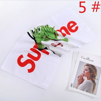 Supreme Fashion New Letter Leaf Palm Money Print Bath Men Women towel