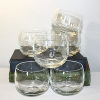 Roly Poly Etched Crystal Glasses, Set of Six Cocktail Cups, Princess House Punch Cups