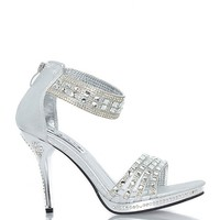 Summer Rio P5185 Strap Open Toe Rhinestone Sandle Heel - SIlver at ShopRoxx.com
