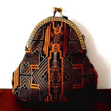Art deco purse / 1920s / black / metallic / gold / geometric print / cream / lined / embossed / bronze / floral / small clasp coin purse