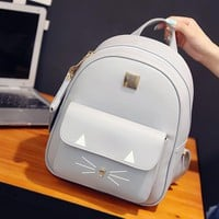Korean Preppy Style Women Backpacks PU Leather Fashion Shoulder School Bag Cute 3D Cats Girls Students Backpack with Small Purse