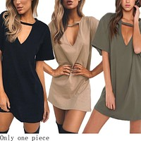 Fashionable Loose Short-sleeved V-neck Hollow Sexy Clothes