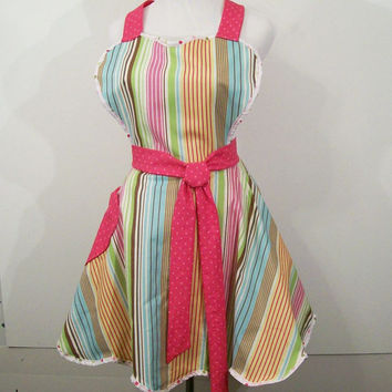 Women's Reto Sweetheart Apron--Stripe with Pink -Made in the Usa---READY TO SHIP