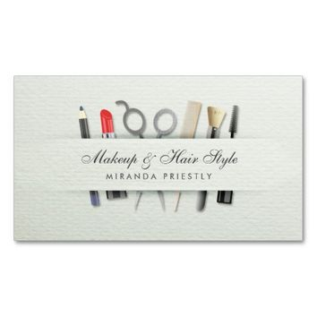 Chic Hair stylist and Makeup Artist Paper Texture Business Card