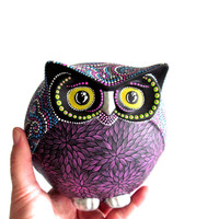 Colorful Owl Figurine Hand painted Owl Unique one of a kind Owl Art