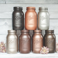 Metallic mason jars. Quart Ball jars, wedding centerpieces, home decor, and kitchen canister storage..