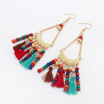 Hot Indian Style Beads Woolen Long Tassels Drop Dangle Earrings Vintage Ethnic Summer Jewelry exaggerated Gift Women Bohemia